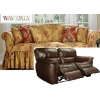 Dual Reclining LOVESEAT Slipcover Waverly Ballad Bouquet Tea Stain
