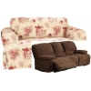Dual Reclining SOFA Slipcover T Cushion Waverly Vintage Rose Floral