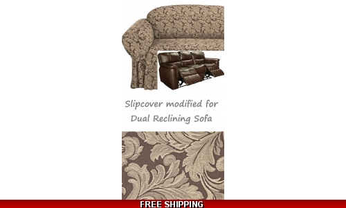 Dual Reclining SOFA Slipcover Damask Chocolate Brown Sure Fit Couch