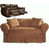 Dual Reclining LOVESEAT Slipcover Heavy Suede Saddle Brown Sure Fit