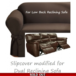 Dual Reclining SOFA Slipcover Ribbed Texture Chocolate Low Back Couch
