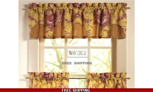 Waverly Valance French Toile La Petite Ferme Spice Gold Red Rooster