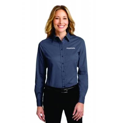 Ladies Easy Care Dress Shirt-Steel Grey title=