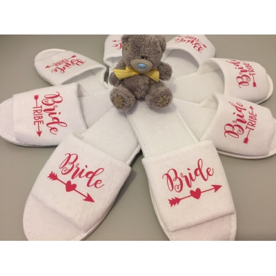 Bride Tribe White Spa Slippers