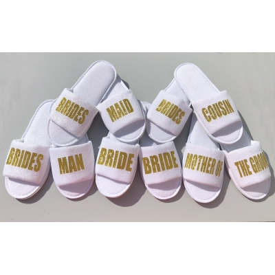 Glitter personalised bridesmaid slippers