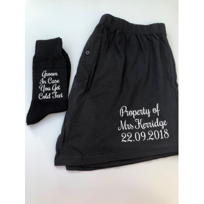 Property of Mrs with wedding date boxers , Groom cold feet socks