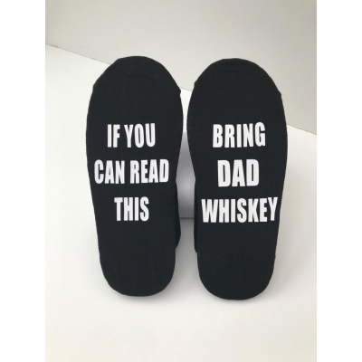 if you can read this bring dad whiskey novelty christmas socks