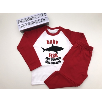 Baby Shark personalised pajamas, christmas red pajamas