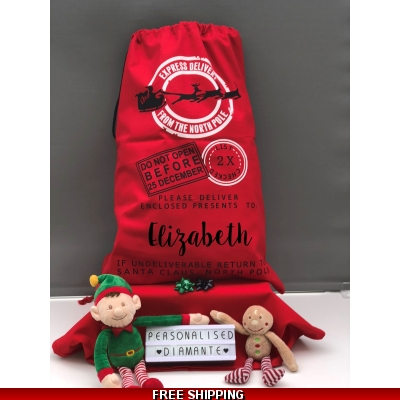 Red Christmas Large Canvas sack 50 x 70cm christmas sack