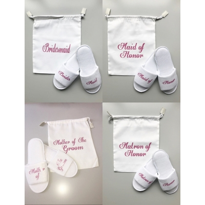 Bridesmaid slippers and bag gift set