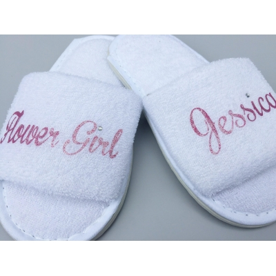 Flower Girl and name , Role and name , personalised slippers