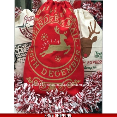 Red Personalised christmas sack