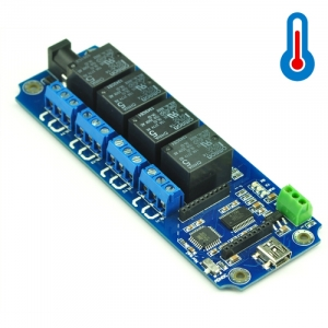 TOSR04-T - 4 Channel USB/Wireless 5V Relay Module Temperature Sensor Support