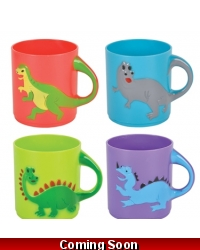 Image of 12 x Plastic Childrens Dinosaur Mugs 8cm