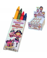 Image of 100 x Packs of 4 Pink Pirate Wax Crayons