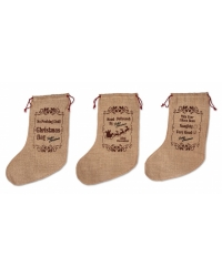 Image of 12 x Hessian Christmas Stockings