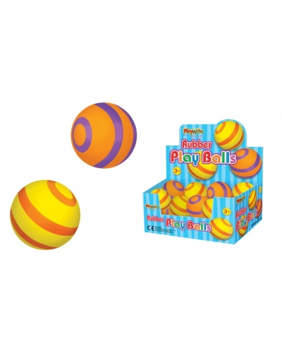 24 x Stripey Rubber Play Balls