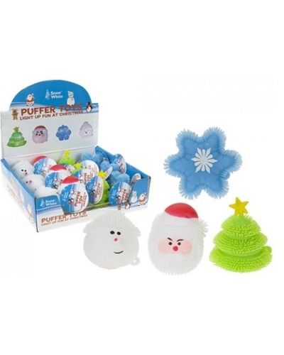 12 x Christmas Light Up Puffer Toys