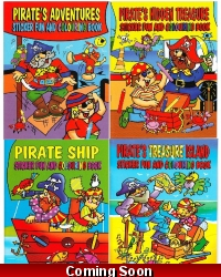 Image of 12 x Pirate A4 Colouring & Sticker Books