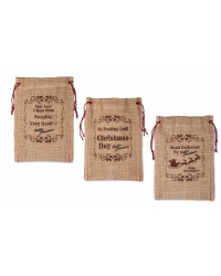 Image of 12 x Hessian Christmas Gift Bags