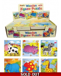 Image of 24 x Wooden Animal Jigsaw Puzzles