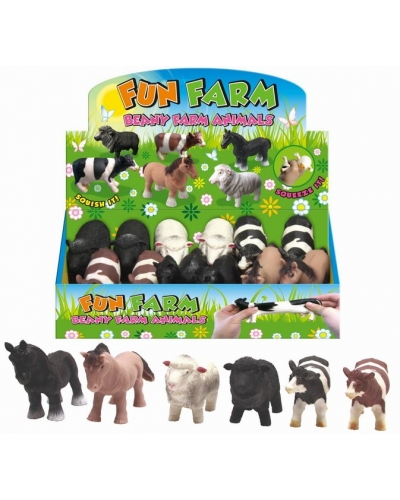 12 x Large Stretchy Farm Animals