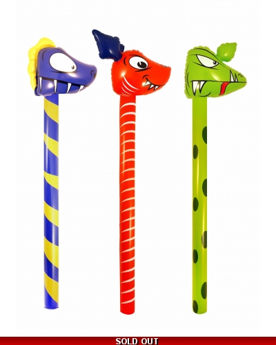 12 x Inflatable Dinosaur Sticks