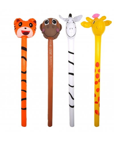 12 x Inflatable Jungle Animal Sticks