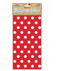 Image of 144 x Red Polka Dot Paper Party Bags