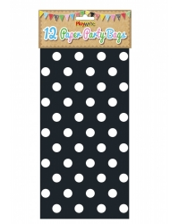 Image of 144 x Black Polka Dot Paper Party Bags