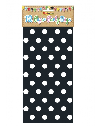 144 x Black Polka Dot Paper Party Bags