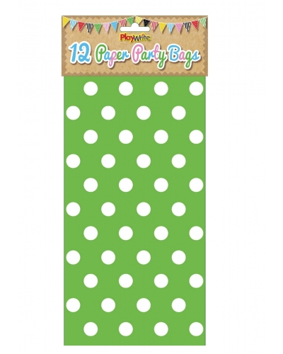 144 x Green Polka Dot Paper Party Bags