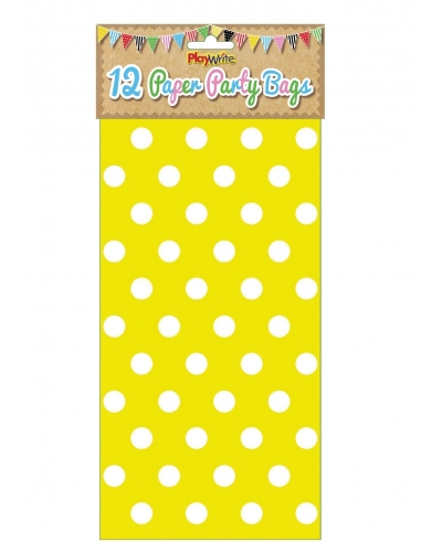144 x Yellow Polka Dot Paper Party Bags