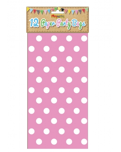 144 x Pink Polka Dot Paper Party Bags