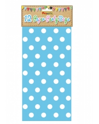 Image of 144 x Blue Polka Dot Paper Party Bags