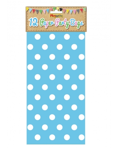144 x Blue Polka Dot Paper Party Bags
