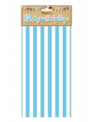 Image of 144 x Blue Candy Stripe Paper Party Bags