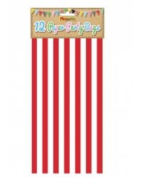 Image of 144 x Red Candy Stripe Paper Party Bags