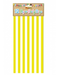 Image of 144 x Yellow Candy Stripe Paper Party Bags