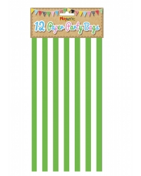 Image of 144 x Green Candy Stripe Paper Party Bags