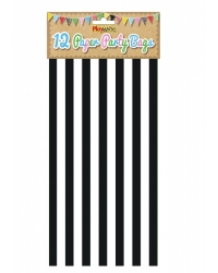 Image of 144 x Black Candy Stripe Paper Party Bags