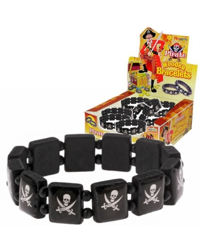 60 x Pirate Wooden Wristbands