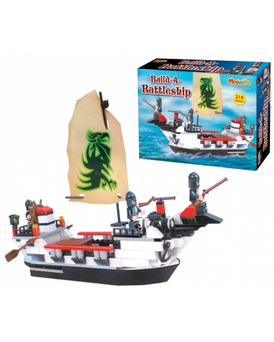Wrapped Grotto Toys - Battle Boat Building Blocks x 6