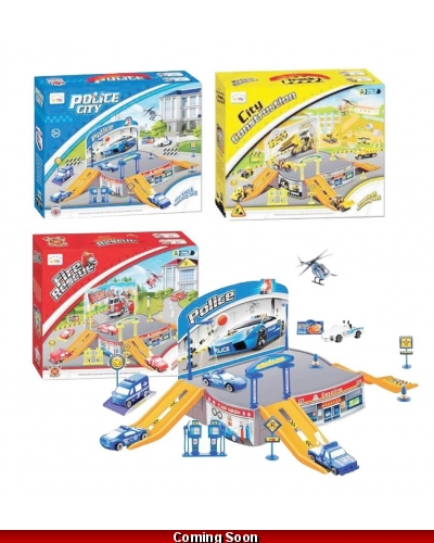 Wrapped Grotto Toys - Emergency Vehicle Playsets x 6