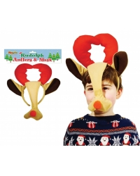 Image of 12 x Plush Rudolph Reindeer Antlers & Mask