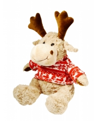Image of 6 x Plush Deluxe Reindeer Knitted Sweater 26cm