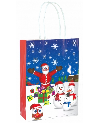 24 x Christmas Paper Party Bags W/Handles