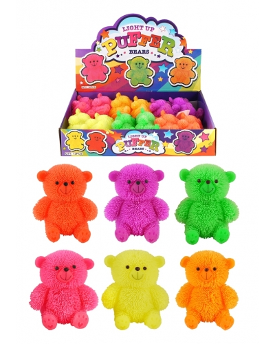 12 x Light Up Stretchy Puffer Teddy Bears