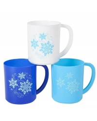 Image of 12 x Plastic Childrens Snowflake Mugs 8cm