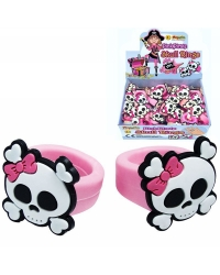 Image of 48 x Rubber Girly Pink Pirate Rings